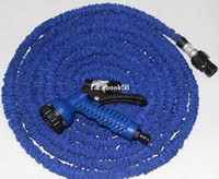 Wholesale 25FT FT FT Hose Expandable Flexible WATER GARDEN Pipe Blue Water Valve Spray Gun With EU Or US Connector