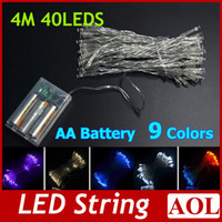 Wholesale 4 meters LED String MINI FAIRY LIGHTS XAA Battery Power OPERATED colors Christmas Lights Christmas Holiday party Decoration