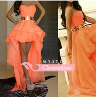 short front long back girls dress - 2014 Sexy Sweetheart High Low Gold Belt Asymmetrical Girls Prom Party Dresses New Front Short Back Long Peach Evening Gowns