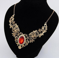 Wholesale 5pcs Fashion Jewelry elegant Red Green gemstone hollow flower necklace alloy Chunky collar necklace