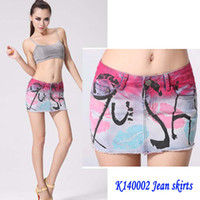 jean skirts - New Arrival Women Sexy Printing Short Jean Skirts Washing Zipped Denim Saias Maxi skirts jupe