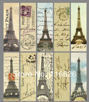 Wholesale Vintage European style classical paper tag bookmark back blank iron tower map postal stamp pattern series size x16cm120pcs