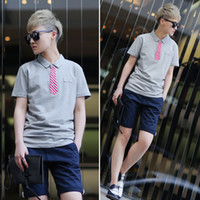 Men Polo Pure Fang Shaolin curved lest Tide brand fake tie collar short-sleeved shirt POLO Japanese retro male