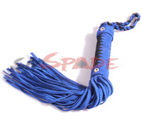 Wholesale Real leather blue spanking flogger suede knit whip adult flirting man made leather knout sex toys