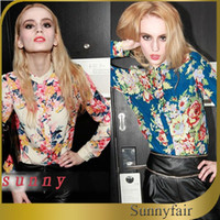 Polyester Above Knee Women skirt New 2014 Spring Women Chiffon Stand Collar Cardigan Ladies Long Sleeve Casual Blouse Colorful Floral Print Shirt S-XXL