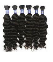 Wholesale Grade a virgin brazilian deep wave hair no weft human hair bulk for braiding unprocessed queen hair products