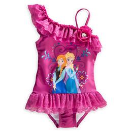 Wholesale IN STOCK New Frozen Bikini Princess Anna Elsa Tiered Lace Rhinestone Gallus Swimwears Children Girls Cute Rose Cartoon Swimsuits