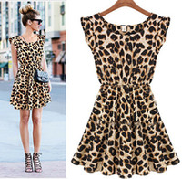 Wholesale Women s Dresses Selling Elegant Mercerized Cotton Classical Vintage Sleeveless Pinup Leopard Loose Casual summer Mini Print Dress