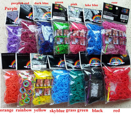 Wholesale Hot colors stock for choose sell DIY bracelet Loom Rubber Bands Loom Bands Refills bands S Clips each set