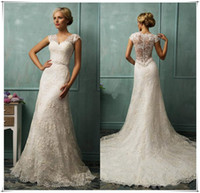A-Line Reference Images V-Neck 2016 Vintage Wedding Dresses Bit V Neck Short Capped Sleeve Sexy Sheer Back A Line Chapel Train Beaded Lace Bridal Gowns Amelia Sposa W-304