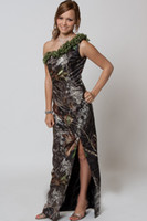 Sheath/Column camo fabric - 2015 Modern Sheath One Shoulder Split Side Zipper Floor length Camo Wedding Dress in Different Fabric