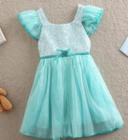 Wholesale Wholesales spring summer new Baby Kids Clothing Children s grils bow lace cotton sleeveless vest sequins tutu lace party dresses LY cx