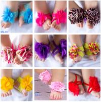 10pairs = 20pcs bebé superiores Barefoot calcetines zapatos de las sandalias pies de las flores dedos del pie del bebé de las floraciones PIE WRAPS PIES FLOWER 24 en color.