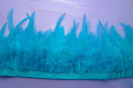 Free shipping 10 yards per lot Turquoise Hackle feather trimming fringe 4-6inch Hackle feather fringe for Crafts Costume Sewing Dress Decor