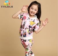 Girl Spring/Autumn Pullover < For Big Girl > Children's Fashion Printing Training Suit Girl's Sport Suit 4-Color 5 Set lot
