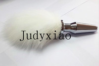 Sex Adult Rabbit Tail Decorated Metal Anal Sex Toy Silver An...