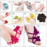 Wholesale 10 Color TOP BABY Sandals baby Barefoot Sandals Foot Flower Foot Ties girls Toddler flower Shoes pairs