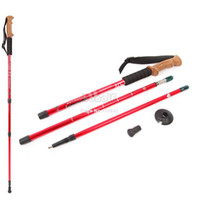 Wholesale Alpenstocks Step Aluminum Alloy section Climbing Handle Bar Hiking Pole Telescopic Antishock Pole Walking Stick Red