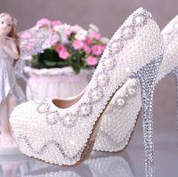 Wedding Pumps High Heel white pearl diamond 14cm high heel princess female lady's formal shoes Jeweled Women Bridal Evening Prom Party Wedding Bridesmaid shoe