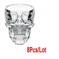 Wholesale 8pcs New Crystal Skull Head Vodka Shot Glass Drinking Ware for Home Bar Use ml
