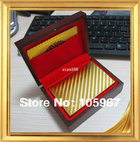 Wholesale 1 Piece Normal Design No Pollutions Plastic K Gold Playing Cards Wooden Box Packing Drop Shipping Support