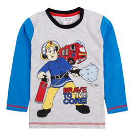 Wholesale 2014 New Arrival Autumn Children Boys Long Blue Sleeve Cotton Fireman Image Printing Tees Blouse Tops Clothing ps A4251