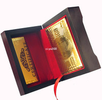 Wholesale 1 Piece Dollar Style No Pollutions Grind arenaceous waterproof Plastic Gold Playing Cards With Wooden Box