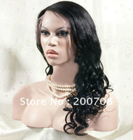 Brazilian Hair Ombre Color Wig,Half Wig Fashion women's wig colour 1# jet black 18 inches Super wave full lace human hair wigs cheap lace cap 100% indian remy hair
