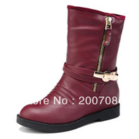 Cheap Free shipping zipper boots ladies casual shoes red black nice sweet medium-leg fashion women short boots 7826
