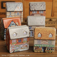 Wholesale Mini tin box full colored drawing three dimensional small house small tin candy box gift storage box
