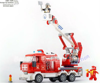 Building Plastic Blocks BANBAO 280pcs set DIY Fire Fighting Ladder Truck 8313 Children's Educational Plastic Building Blocks Toys Free Shipping