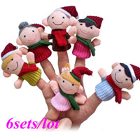 Unisex 0-12 Months Gray 6sets lot 36Pcs Happy Family Soft Plush Puppet Finger Toys Educational Story-telling Toy For Children 8453