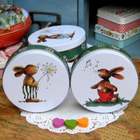 Metal Sundries Eco Friendly Free shipping,2pcs lot,Rabbit mint tin storage box small tin candy box biscuit box