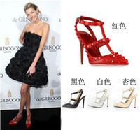 Wholesale Lowest Price Europe and America Women punky rivets red dress shoes strappy high heel pump shoes stiletto heel pointed toe designer shoes