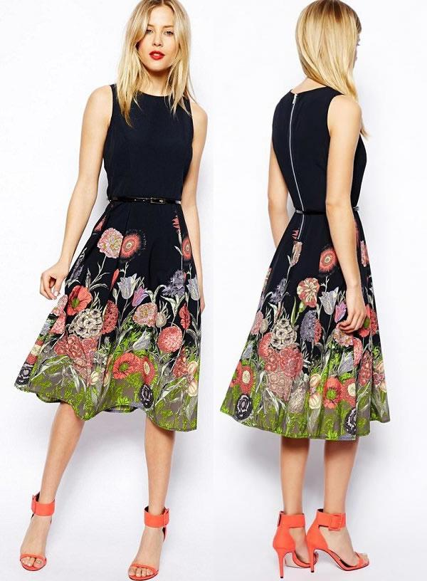 Midi Skater Dress Floral Border Print Women Dresses 1473 Party ...