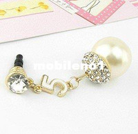 Earphone Jack Plugs 3.5mm iPhones/HTC/SUMSANG Min.order is $10(Mix order) Free Shipping Cell Phone Accessories Phone Jewelry Big Pearl Rhinestone Dust Plug