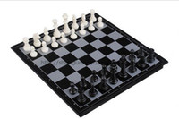 Chinese Chess Black Plastic Free Shipping,International Chess & Checkers,Folding Magnetic Board,Indoor Game P029