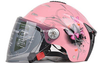 Wholesale 2012 HOT Lovely Half Face Women Dirt Bike Motorcycle Helmet with Goggles for Summer amp Red White Pink Yellow SIZE L