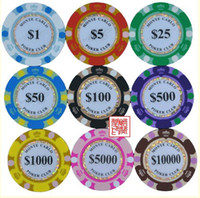 Poker Chips Zhejiang China (Mainland) Clay 2011 NEW ! High-grade PP Clay Composite 100% Pro Monte-Carlo POKER CLUB Poker chips gaming chips Dropshipping ! Free shipping !