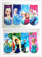 Wholesale New Arrival Four Season Children Sock Frozen Anna Elsa Cartoon Design Socks Polyester Cotton Childs Ankle Stockings pair bag G0195