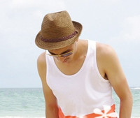 Stingy Brim Hat Red Cowboy 2012 Fashion men straw hat, men hat, summer hat, beach hat for retail and wholesale