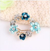 Vintage Men's Gift 2014 NEW ARRIVAL high quality Unisex Vintage 6 Colors Flower Gemstone Wedding brooches Women Rhinestone brooch Pins Costume jewelry Present