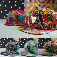 Wholesale 2014 Summer Hater Color Pattern Graffiti Hip hop Dance Hats Flat Along Baseball Hat Snapback Caps for Men and Women