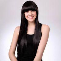 Wholesale Fashion MAYSU Long Straight Wig Women Black Full Straight Hair Wig With Neat Bang
