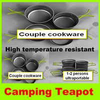 aluminium tableware - New Couple Cookware Set High Quality Outdoor Cookware Camping Hiking Cooking Set Couple Sets Pot Aluminium Tableware Pot for Person H
