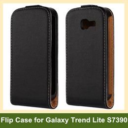 Wholesale Cool Genuine Leather Flip Cover Case for Samsung Galaxy Trend Lite S7390 with Magnetic Snap Free Shipping
