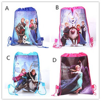 Wholesale Frozen Boys Girls Cartoon Bags Princess Anna Elsa Handbags Child School Drawstring Bag Kids Children s Day Gift Snow Queen Casual Bags D2707