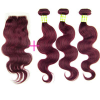 Wholesale Factory Outlet Price Beauty Queen j Burgundy Bundles Brazilian Hair Wefts With Piece Top Lace Closure Red Wine Color