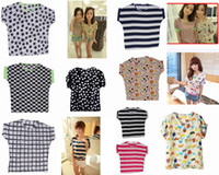 Wholesale Summer Chiffon Women Blouses Various Pattern Round Neck Lady Blouse EAR