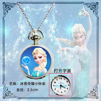 Wholesale 201405Q new woman girl lady children fashion blue frozen two cute cartoon sister pocket watch necklace Randomly send